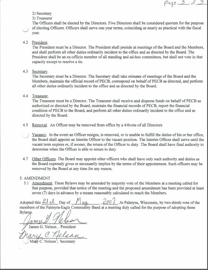 Third Page of Original Bylaws