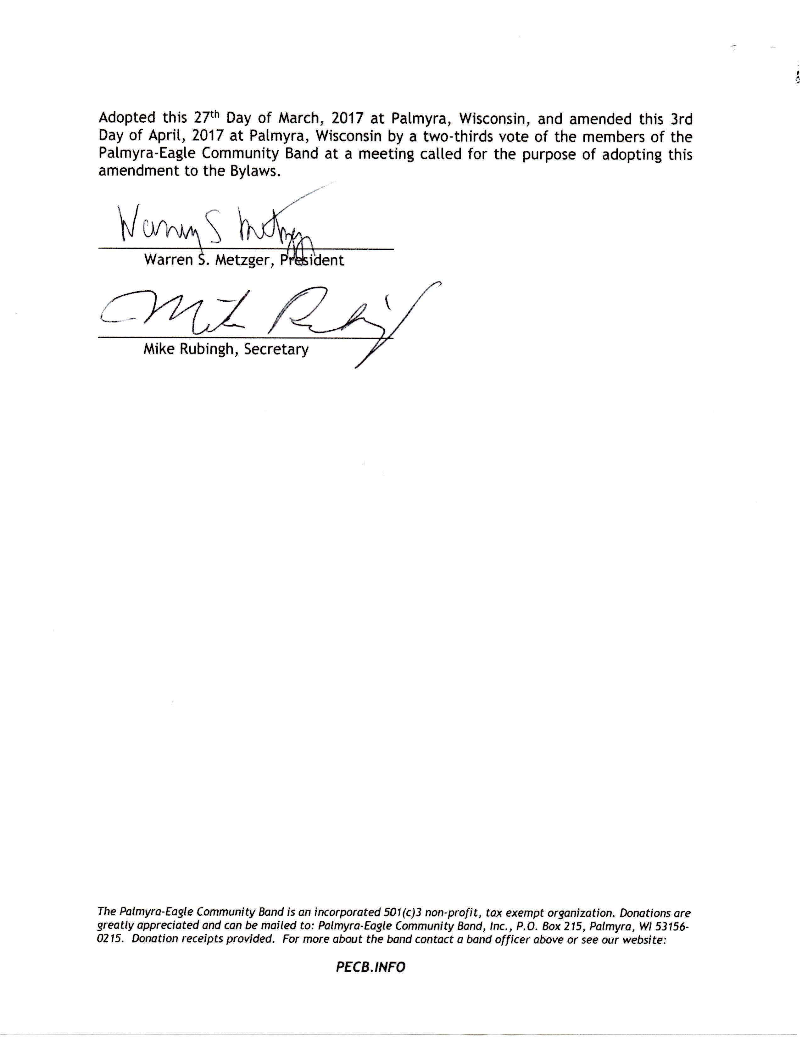 First Page of Scholarship Amendment to Bylaws Page Two