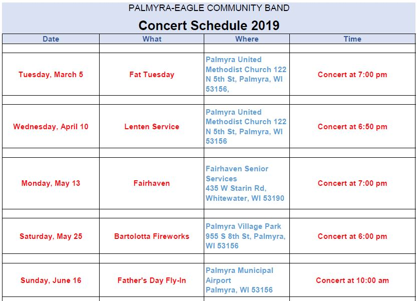 2019 Concert Schedule Page 1