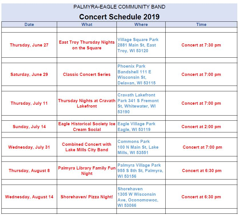 2019 Concert Schedule Page 2