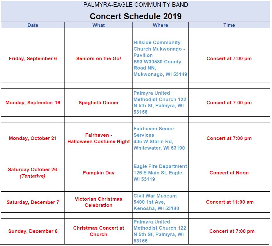 2019 Concert Schedule Page 3