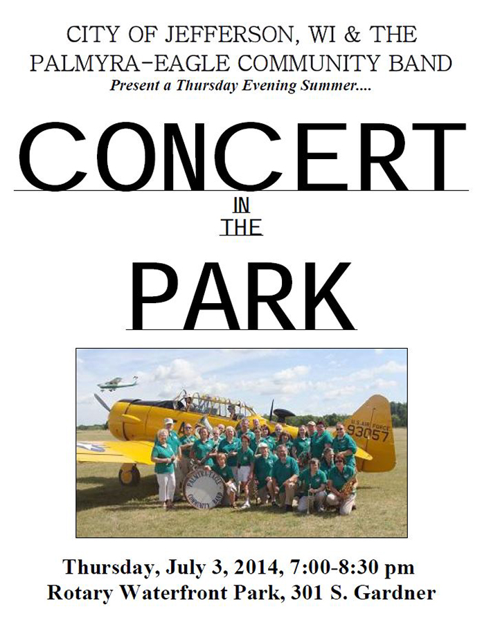 Program From Palmyra-Eagle Community Band Concert July 3, 2014