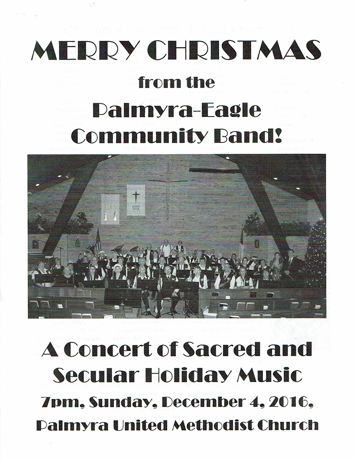 Program From Palmyra-Eagle Community Band Concert December 4, 2016