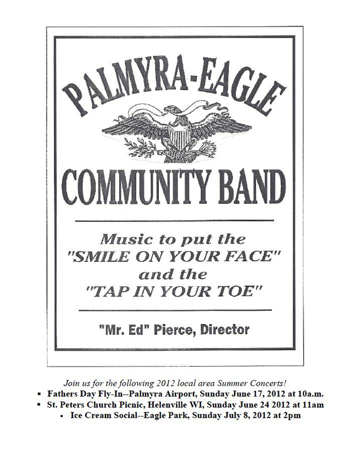 Program From Palmyra-Eagle Community Band Concert June 11, 2012