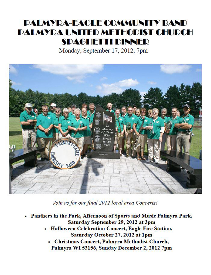 Program From Palmyra-Eagle Community Band Concert September 17, 2012