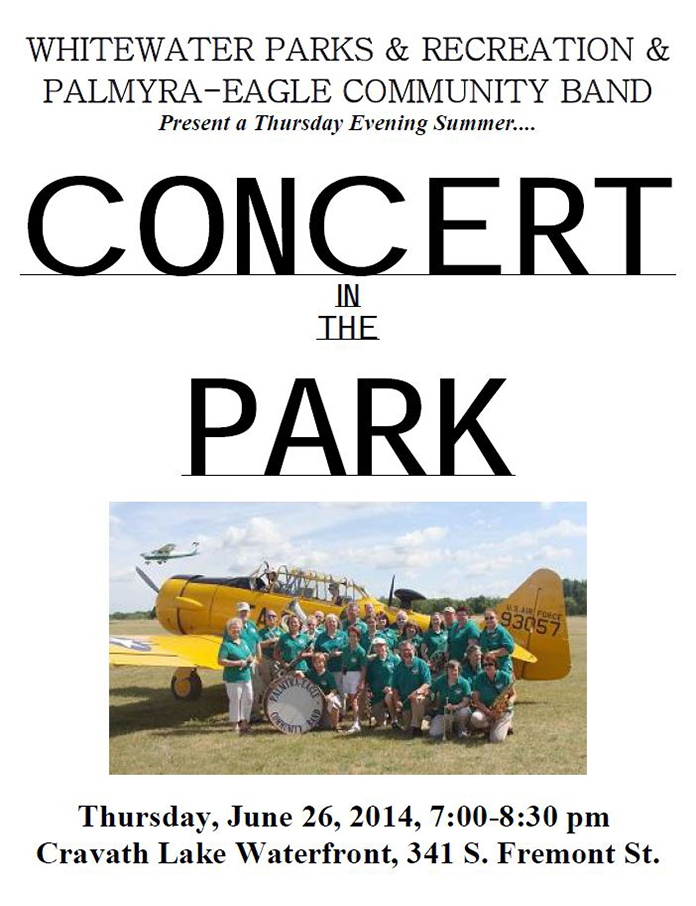 Program From Palmyra-Eagle Community Band Concert June 26, 2014