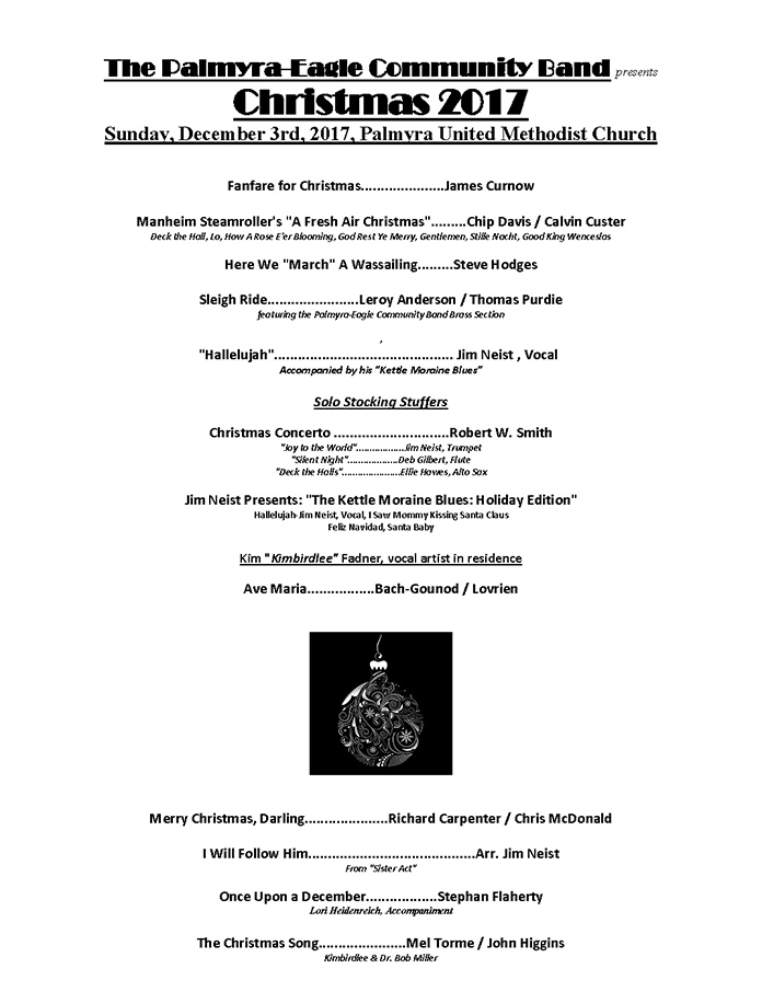 Program From Palmyra-Eagle Community Band Concert December 3, 2017