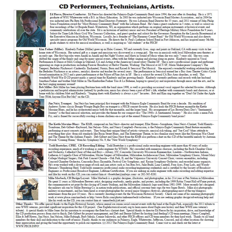 Bios for our CD Performers, Artists and Engineers Involved in the Project